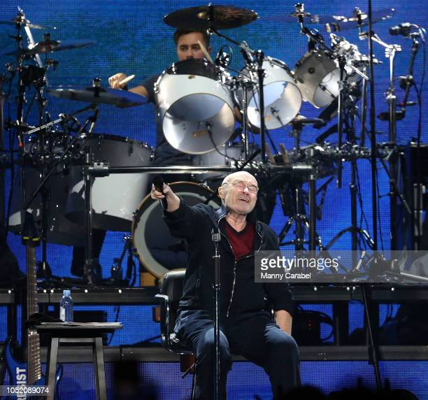 Phil Collins performs on stage during the 'Not Dead Yet' Live Tour at Prudential Center on October 13 2018 in Newark New Jersey