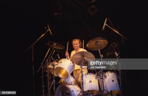 Phil Collins performs on tour with Eric Clapton at the St Paul Civic Center in St Paul Minnesota on April 18 1987