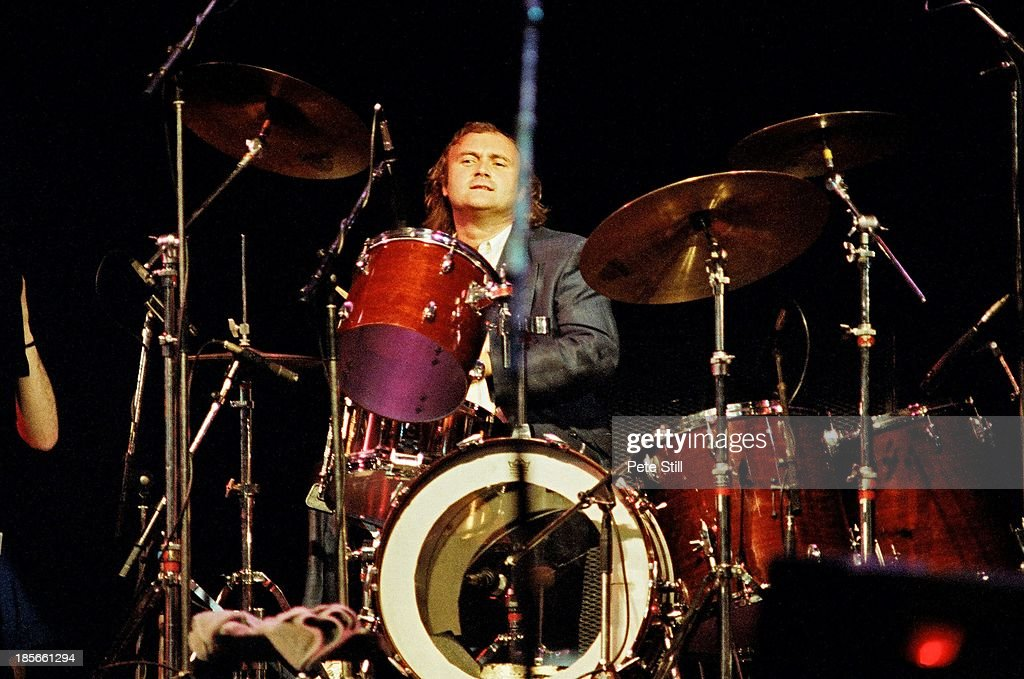 Phil Collins Plays The Drums On Stage At Wembley Arena At