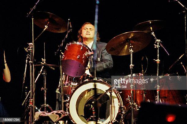 Phil Collins plays the drums on stage at Wembley Arena at The Princes Trust concert on June 6th 1987 in London England