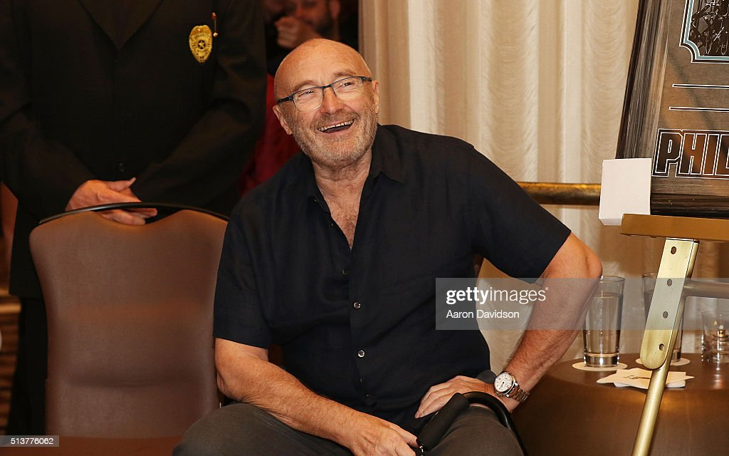 Phil Collins Press Conference for the Little Dreams Foundation at Seminole Hard Rock Hotel & Casino - Hard Rock Cafe Hollywood on March 4, 2016 in Hollywood, Florida.