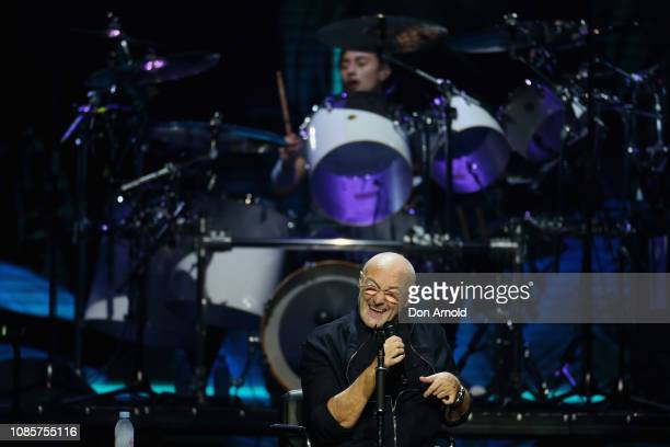 Phil Collins sings and his son Nicholas Collins plays the drums at Qudos Bank Arena on January 21 2019 in Sydney Australia
