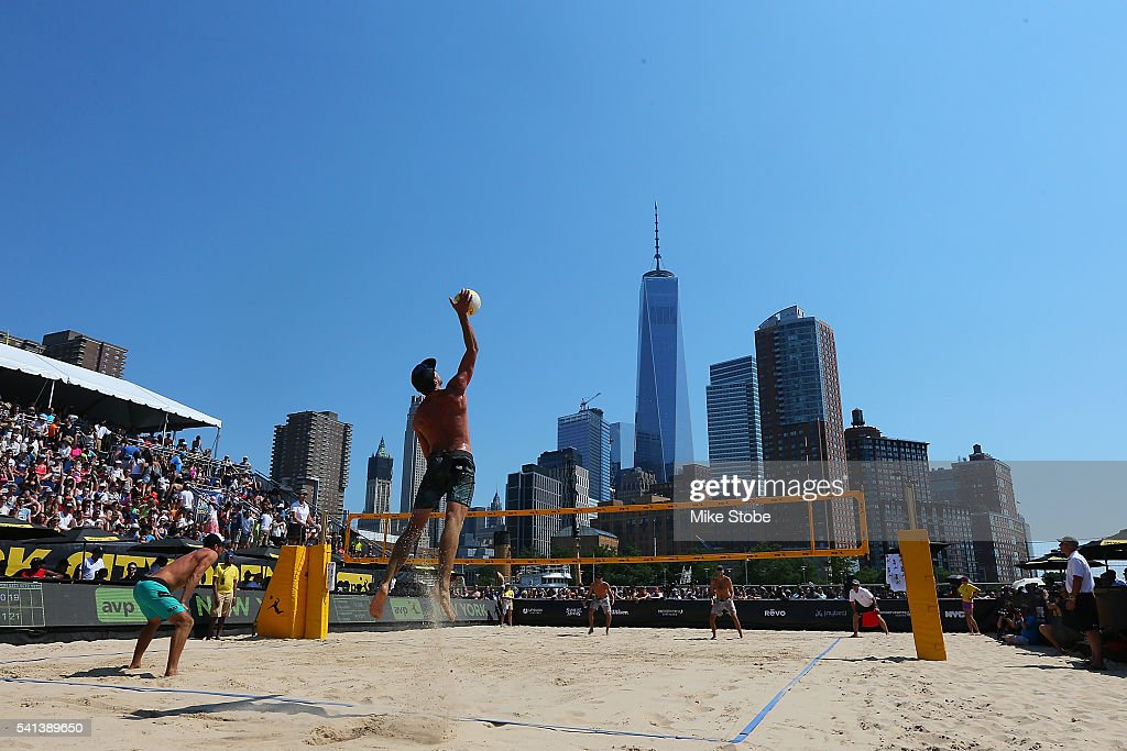 Phil Dalhausser and Nick Lucena play against Jeremy Casebeer and Sean Rosenthal during the Men's AVP New York Open Championship Match at Hudson River Park on June 19, 2016 in New York City.