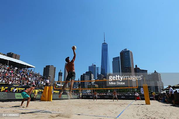 Phil Dalhausser and Nick Lucena play against Jeremy Casebeer and Sean Rosenthal during the Men's AVP New York Open Championship Match at Hudson River...