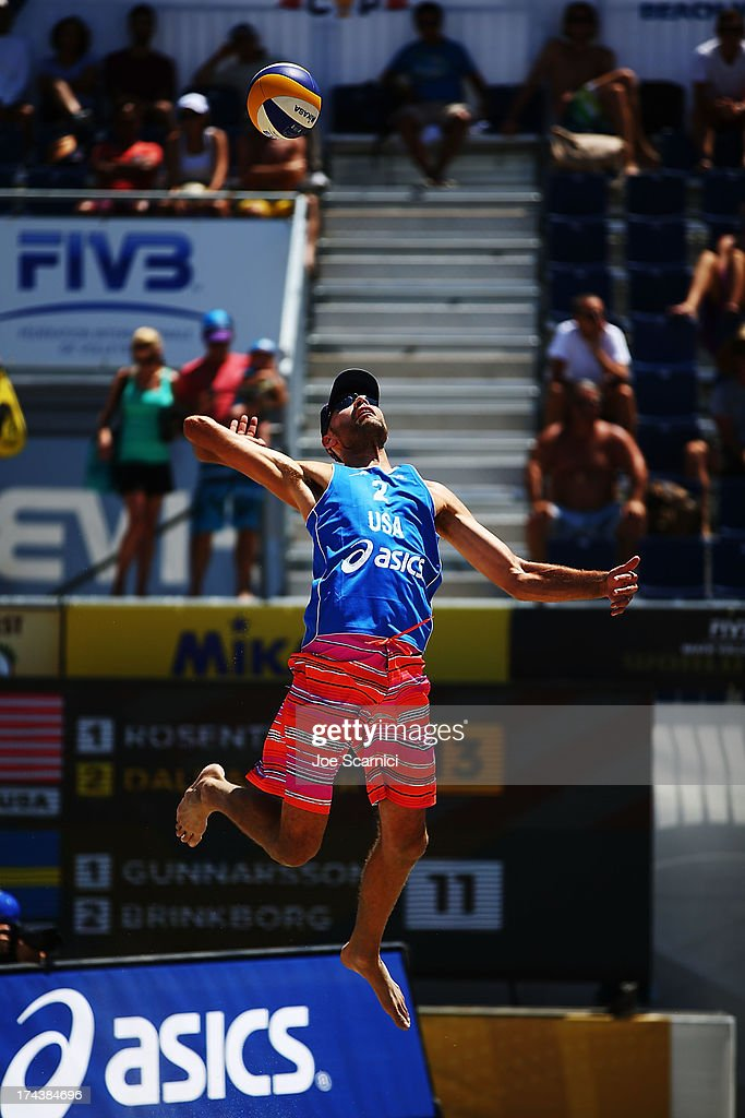 Phil Dalhausser of USA serves the ball into play during the round of pool play at the ASICS World Series of Beach Volleyball - Day 3 on July 24, 2013 in Long Beach, California.