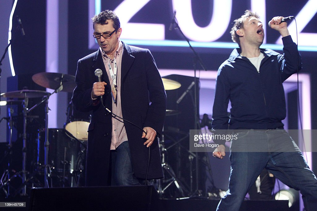 Phil Daniels and Damon Albarn of Blur perform at rehearsals for The Brit Awards 2012 at The O2 Arena on February 21, 2012 in London, England.