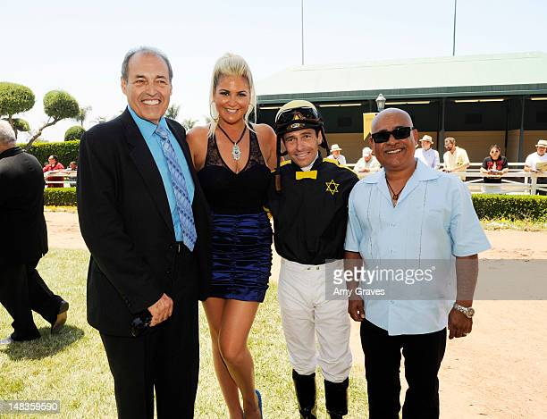 Phil Daniels Josie Goldberg Jose Valdivia Jr and Walther Solis attend the debut of reality TV star and playboy model Josie Goldberg's personal race...