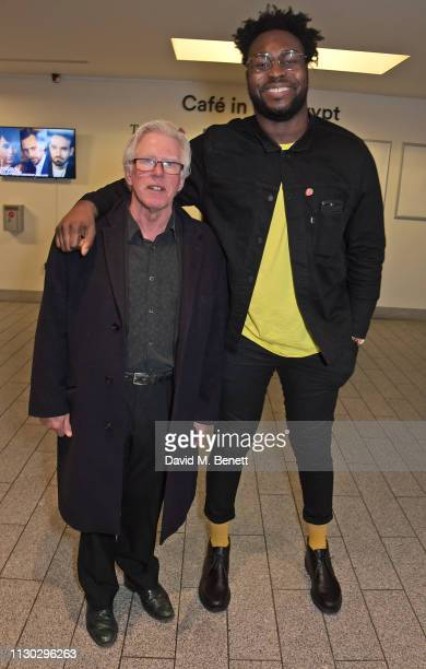 Phil Davis and Abraham Popoola attend the press night after party for Betrayal at The Cafe In The Crypt St MartinintheFields on March 13 2019 in...