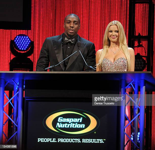 Phil Davis and Jessa Hinton present the Best Promotion of the Year Award at the 2011 Fighters Only World Mixed Martial Arts Awards at the Palms...