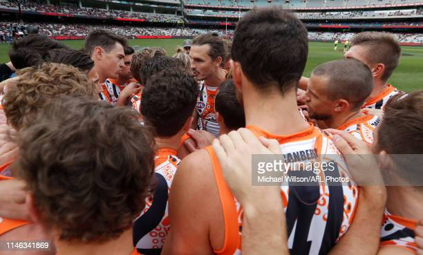 Phil Davis of the Giants addresses his players during the 2019 AFL round 10 match between the Melbourne Demons and the GWS Giants at the Melbourne...