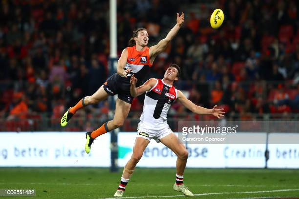 Phil Davis of the Giants attempts to mark during the round 19 AFL match between the Greater Western Sydney Giants and the St Kilda Saints at Spotless...