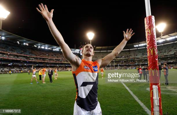 Phil Davis of the Giants celebrates during the 2019 AFL First Preliminary Final match between the Collingwood Magpies and the GWS Giants at the...