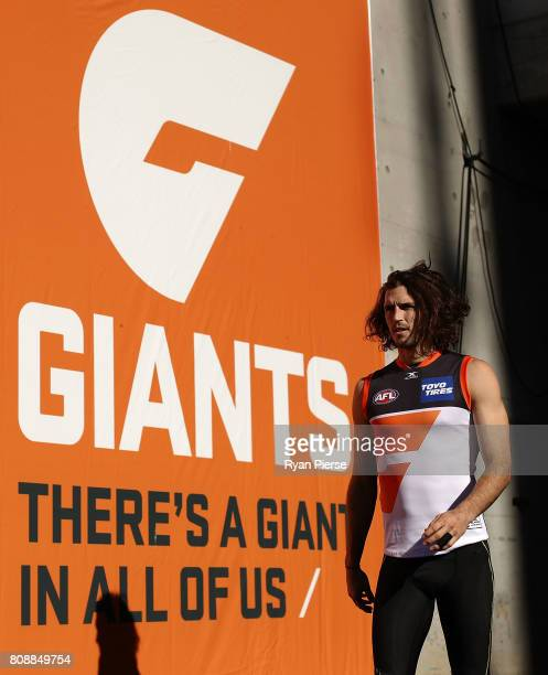 Phil Davis of the Giants prepares to train during a Greater Western Sydney Giants AFL training session at Spotless Stadium on July 5, 2017 in Sydney,...