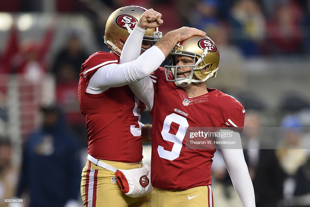 Phil Dawson #9 of the San Francisco 49ers celebrates after his game winning 23-yard field goal in overtime against the St. Louis Rams during their NFL game at Levi's Stadium on January 3, 2016 in Santa Clara, California.