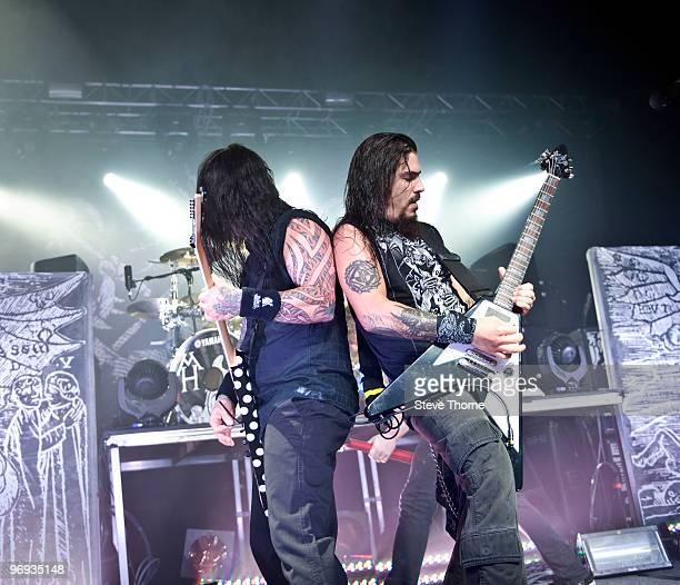 Phil Demmel and Robb Flynn of Machine Head perform at O2 Academy on February 21 2010 in Birmingham England
