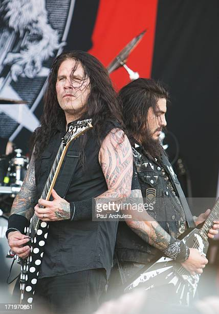 Phil Demmel and Robb Flynn of the Metal Band Machine Head perform live at the 2013 Rockstar energy drink Mayhem Festival at the San Manuel...