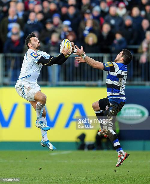 Phil Dollman of Exeter Chiefs claims the high ball ahead of Horacio Agulla of Bath during the Aviva Premiership match between Bath Rugby and Exeter...