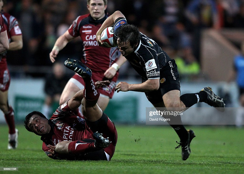 Phil Dollman of Exeter is tackled by Alaifatu Fatialofa during the Championship playoff final match, 1st leg between Exeter Chiefs and Bristol at Sandy Park on May 19, 2010 in Exeter, England.
