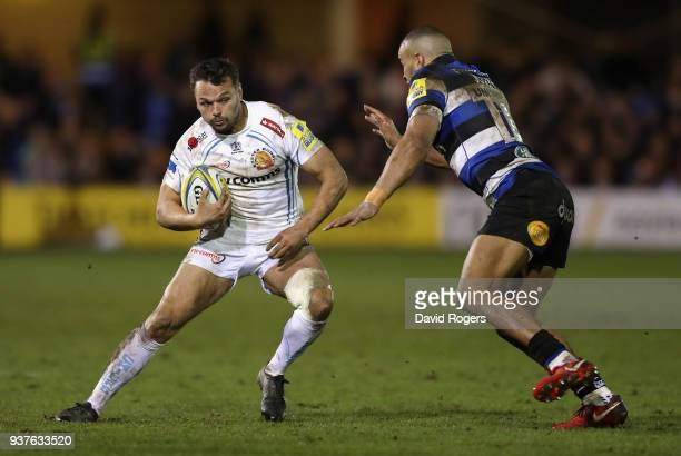 Phil Dollman of Exeter runs with the ball during the Aviva Premiership match between Bath Rugby and Exeter Chiefs at the Recreation Ground on March...