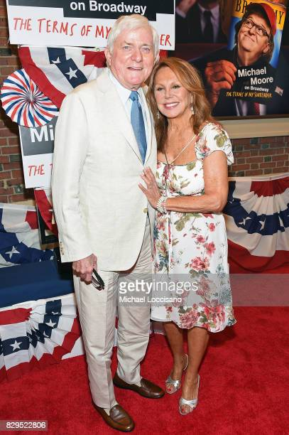 Phil Donahue and actress Marlo Thomas attend as awardwinning filmmaker Michael Moore celebrates his Broadway Opening Night in The Terms of My...