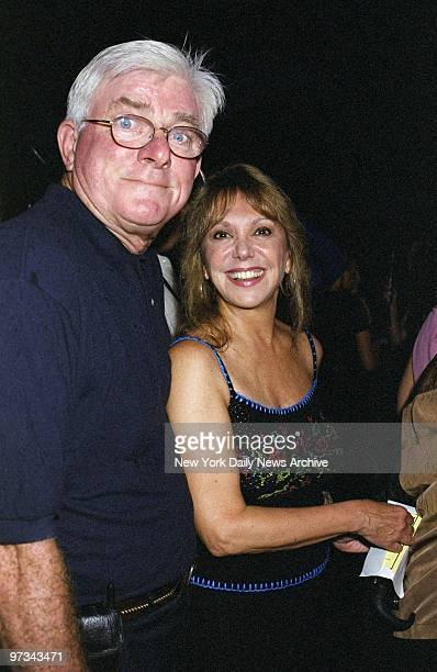 Phil Donahue and wife Marlo Thomas arrive for the opening night of Chekhov's The Seagull at the Delacorte Theater in Central Park Rain interrupted...