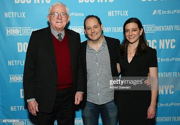 Phil Donahue director Tom Donahue and Jill Schweitzer attend DOC NYC Premiere of Thank You For Your Service at SVA Theater on November 13 2015 in New...