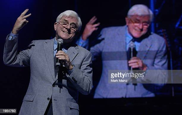 Phil Donahue performs at the Shower of Stars Gala celebrating the 40th anniversary of St Jude Childrens Research Hospital at the Cannon Center for...