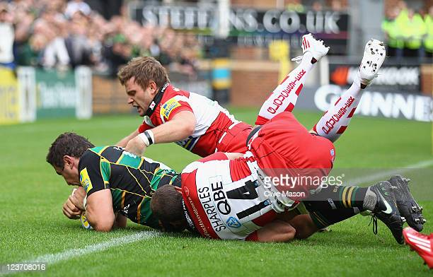 Phil Downey of Northampton Saints goes over to score a try during the AVIVA Premiership match between Northampton Saints and Gloucester at Franklin's...