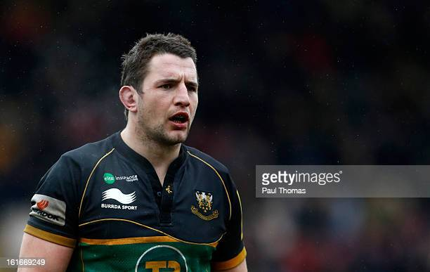 Phil Dowson of Northampton watches on during the Aviva Premiership match between Northampton Saints and Gloucester at Franklins Gardens on February...