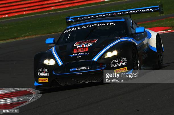 Phil Dryburgh drives the PGF Kinfaun AMR Aston Martin Vantage GT3 during practice for the Blancpain Endurance GT Series race at the Silverstone...