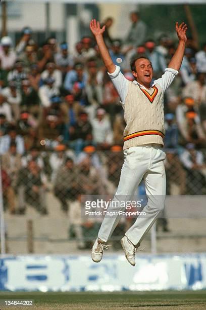 Phil Edmonds dismisses Gaekwad, India v England, 2nd Test, Delhi, Dec 84.