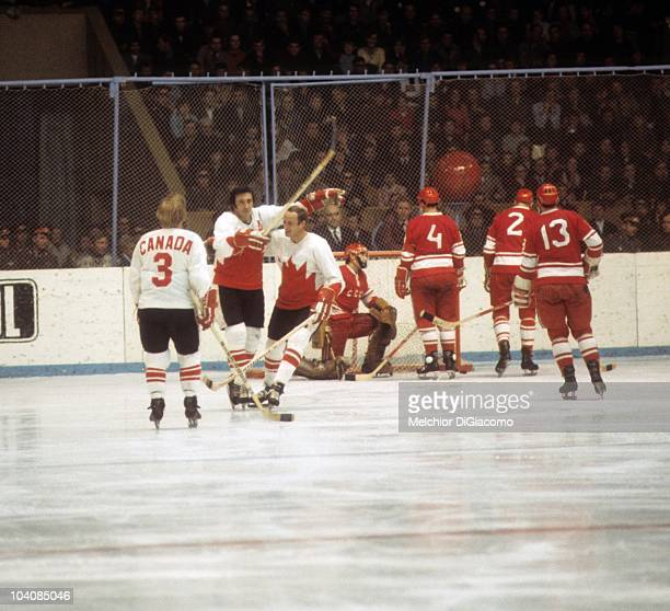 Phil Esposito of Canada celebrates a goal with teammates Bill White and Pat Stapleton during their game against the Soviet Union in the 1972 Summit...