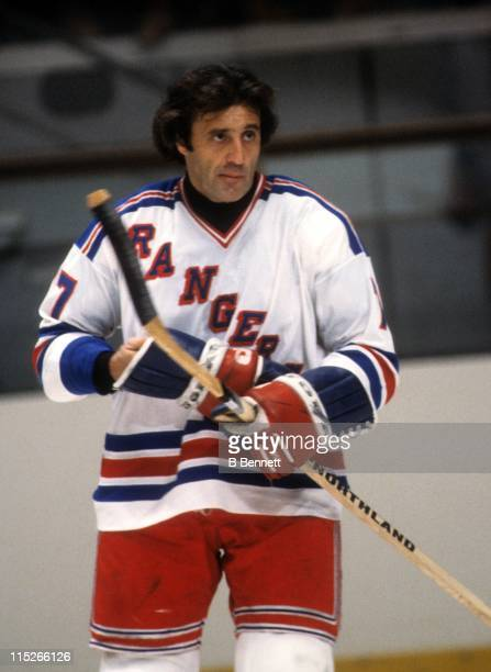 Phil Esposito of the New York Rangers skates on the ice during an NHL game in October 1980 at the Madison Square Garden in New York New York