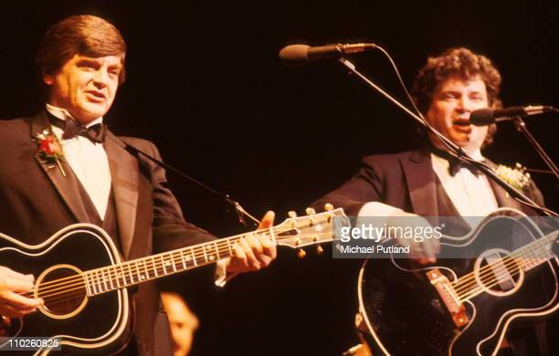 Phil Everly and Don Everly The Everly Brothers perform on stage London 25th February 1986