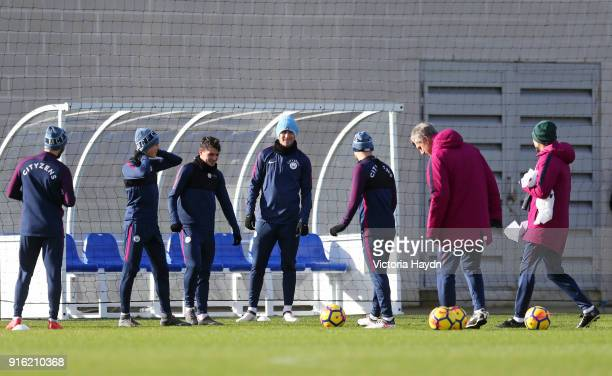 Phil Foden Brahim Diaz Aymeric Laporte and teammates during training at Manchester City Football Academy on February 9 2018 in Manchester England