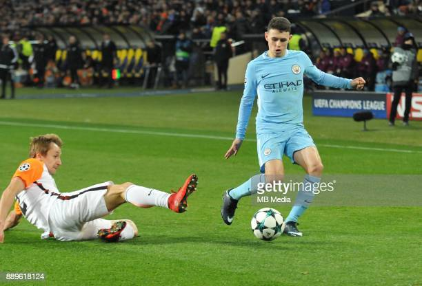 Phil Foden during the UEFA Champions League group F match between Shakhtar Donetsk and Manchester City at Metalist Stadium on December 6 2017 in...