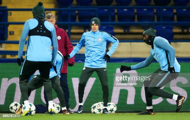Phil Foden in action during a Manchester City training session on December 5 2017 in Kharkov Ukraine