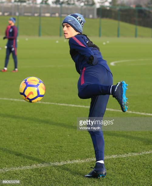 Phil Foden in action during training at Manchester City Football Academy on December 12 2017 in Manchester England