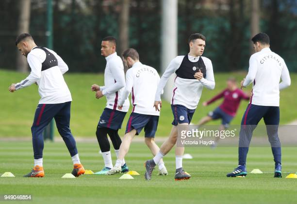 Phil Foden in action during training at Manchester City Football Academy on April 20 2018 in Manchester England