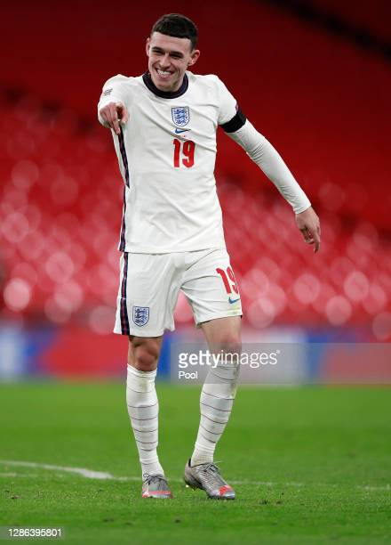 Phil Foden of England celebrates after scoring their team's third goal during the UEFA Nations League group stage match between England and Iceland...