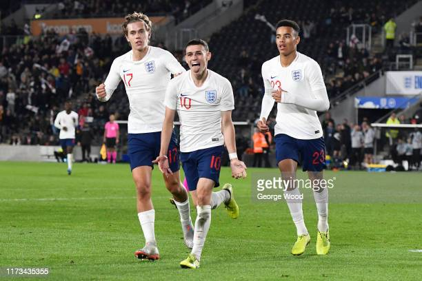 Phil Foden of England celebrates with his team mates after scoring his teams second goal of the match during the UEFA European U21 2021 Championship...