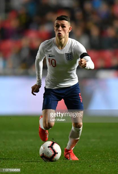 Phil Foden of England controls the ball during the International Friendly match between England U21 and Poland U21 at Ashton Gate on March 21 2019 in...