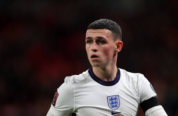 Phil Foden of England during the 2022 FIFA World Cup Qualifier match between England and Hungary at Wembley Stadium on October 12, 2021 in London,...