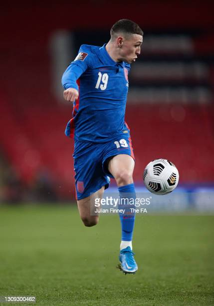 Phil Foden of England in action during the FIFA World Cup 2022 Qatar qualifying match between England and San Marino on March 25, 2021 in London,...