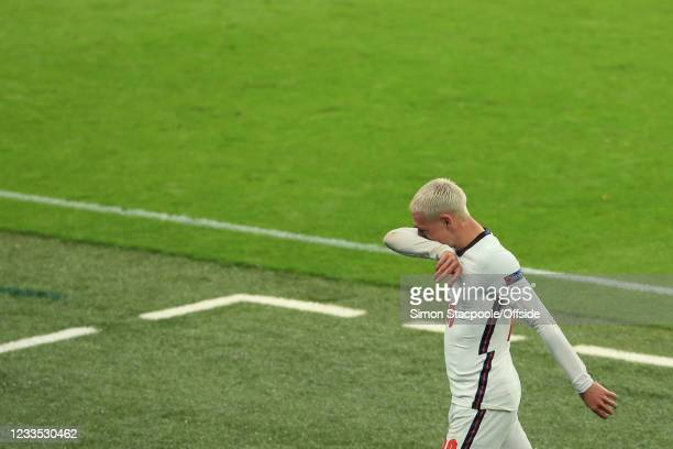 Phil Foden of England looks dejected during the UEFA Euro 2020 Championship Group D match between England and Scotland at Wembley Stadium on June 18,...