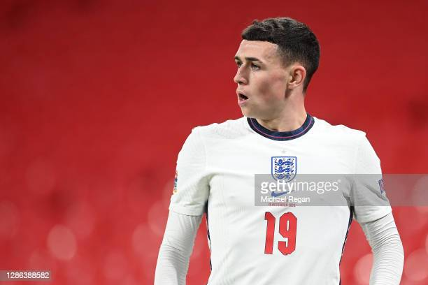 Phil Foden of England looks on during the UEFA Nations League group stage match between England and Iceland at Wembley Stadium on November 18, 2020...