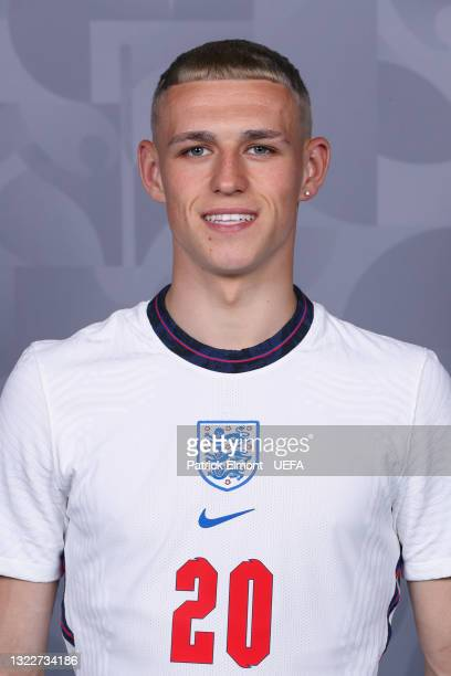 Phil Foden of England poses during the official UEFA Euro 2020 media access day at St George's Park Futsal Arena on June 08, 2021 in Burton upon...