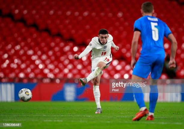 Phil Foden of England scores their team's fourth goal during the UEFA Nations League group stage match between England and Iceland at Wembley Stadium...