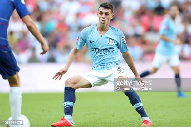 Phil Foden of Man City during the FA Community Shield match between Manchester City and Chelsea at Wembley Stadium on August 5 2018 in London England