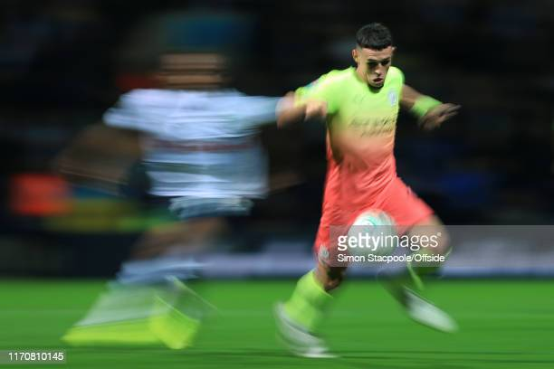 Phil Foden of Man City in action during the Carabao Cup Third Round match between Preston North End and Manchester City at Deepdale on September 24...